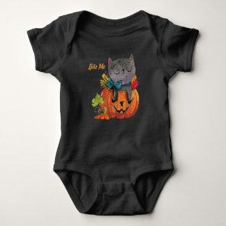 Leuke Kat en Pompoen   van Halloween Overhemd Romper