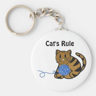 Leuke Kat met Garen en Spreuk Basic Ronde Button Sleutelhanger