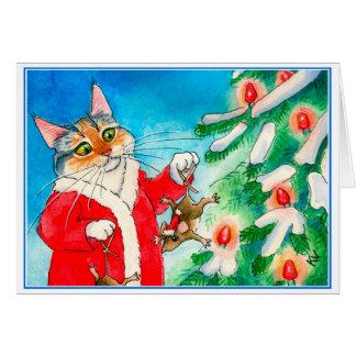 Leuke kat, muizen, het wenskaart van de Kerstboom