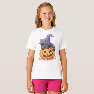 Leuke Kat op een Pompoen Halloween   Overhemd T Shirt