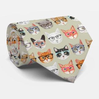 Leuke Katten die het Patroon van Glazen dragen Feest Stropdas