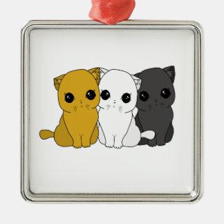 Leuke katten zilverkleurig vierkant ornament