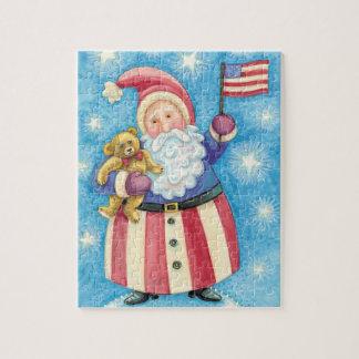 Leuke Kerstmis, de Patriottische Kerstman met Vlag Puzzel