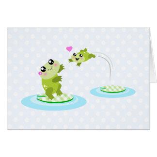 Leuke kikkers - kawaiimamma en van de babykikker kaart