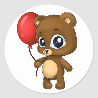 Leuke Kleine Beer met een Rode Ballon Ronde Sticker