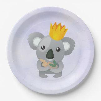 Leuke Koala in een Gouden Kroon Papieren Bordje