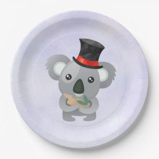 Leuke Koala in Zwarte Hoge zijden Papieren Bordje