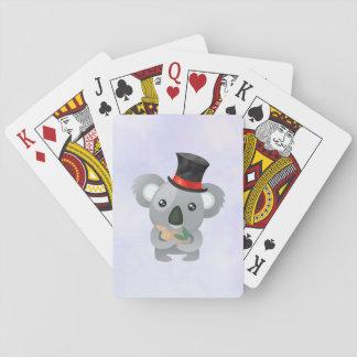 Leuke Koala in Zwarte Hoge zijden Speelkaarten