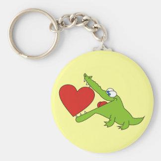 Leuke Krokodil met een Hart Keychain Sleutelhanger