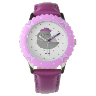 Leuke Mevr. Bird Purple Watch Horloge