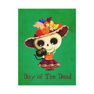 Leuke Mexicaanse Dag van het Dode Meisje Canvas Afdruk