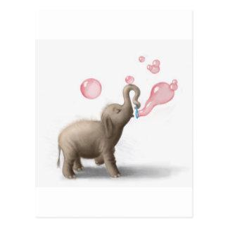 leuke olifant die roze bellen blazen briefkaart