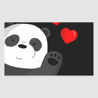 Leuke panda rechthoekige sticker