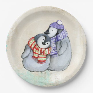 Leuke Pinguïnen in de Sjaals en de Petten van de Papieren Bordje