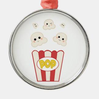 Leuke Popcorn Kawaii Zilverkleurig Rond Ornament