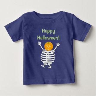 Leuke pretcartoon van een pompoen geleid skelet, baby t shirts