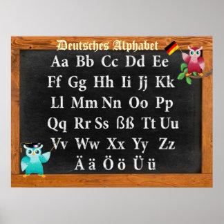 Leuke Professor Owl German Deutsches Alphabet Poster