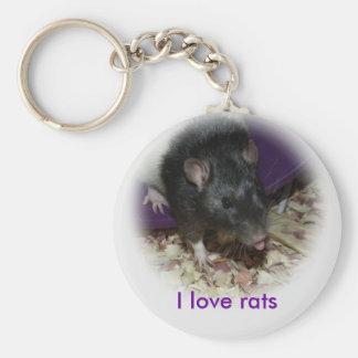 Leuke rat die uit zijn tong plakken keychain sleutelhanger