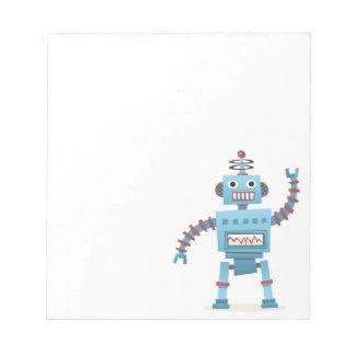 Leuke retro robot androïde kinder cartoon notitieblok