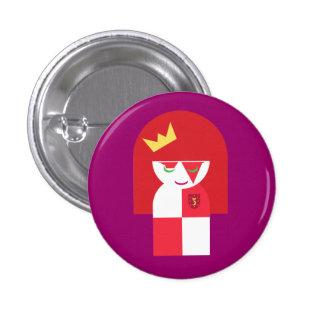 Leuke Rode HoofdStrijder Koningin Dressed voor Sla Ronde Button 3,2 Cm