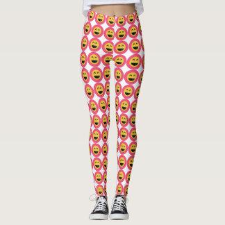 Leuke Roze en Gele Beenkappen Emoji Leggings