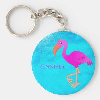 Leuke roze en girly tropische flamingo op blauw sleutelhanger