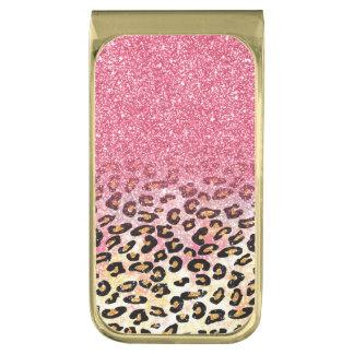 Leuke roze faux schittert luipaard dierlijke druk vergulde geldclip