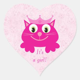 Leuke Roze Kat met Zijn Kroon een Nieuw Baby van Hartvormige Stickers