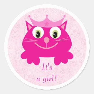 Leuke Roze Kat met Zijn Kroon een Nieuw Baby van Ronde Sticker