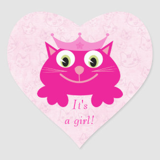 Leuke Roze Kat met Zijn Kroon een Nieuw Baby van Hartvormige Sticker