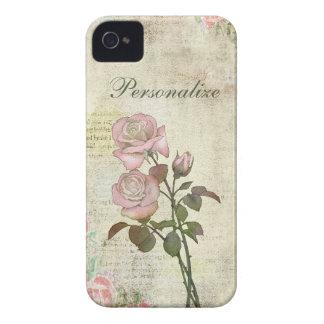 Leuke Roze Rozen op Vintage Achtergrond iPhone 4 Hoesje