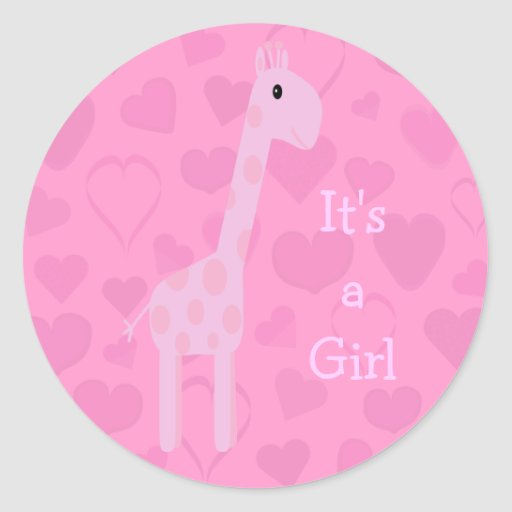 Leuke Roze Zijn Giraf & Harten een Nieuw Baby van Ronde Sticker