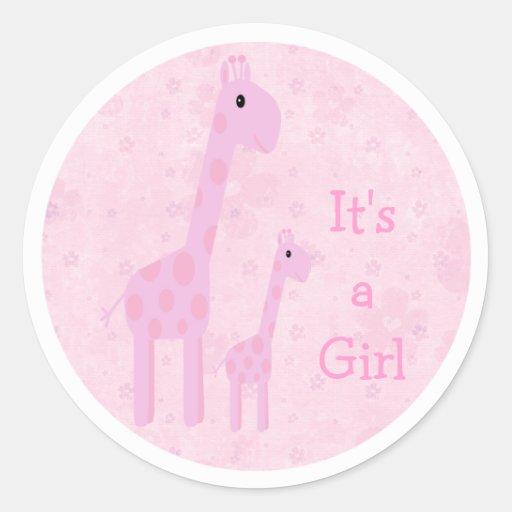 Leuke Roze Zijn Giraffen & Bloemen een Nieuw Baby Ronde Stickers