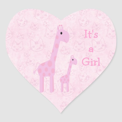 Leuke Roze Zijn Giraffen & Katten een Nieuw Baby Hart Stickers