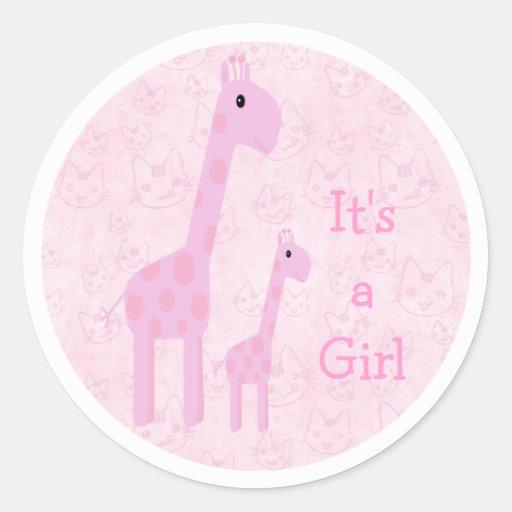 Leuke Roze Zijn Giraffen & Katten een Nieuw Baby Ronde Stickers
