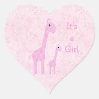 Leuke Roze Zijn Giraffen Katten een Nieuw Baby v Hart Stickers