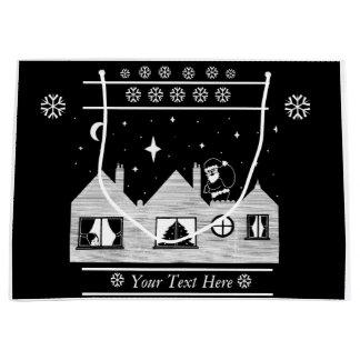 Leuke santa met zak op dak zwart-wit art. groot cadeauzakje