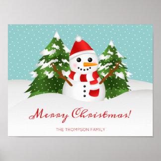 Leuke Sneeuwman en Personaliseerbare Kerstmis van Poster