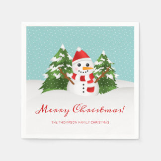 Leuke Sneeuwman en Personaliseerbare Kerstmis van Wegwerp Servetten