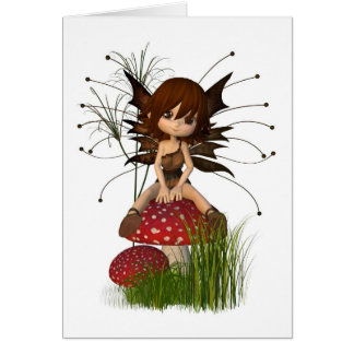 Leuke Toon Autumn Fairy en Giftige paddestoel Wenskaart