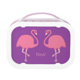 Leuke van het de douanemonogram van Flamingo's de Lunchbox