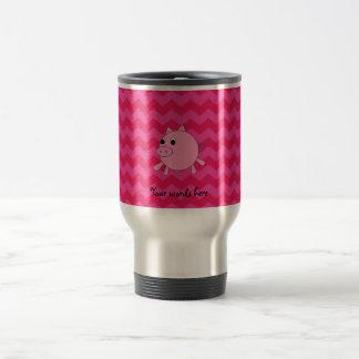 Leuke varkens roze chevrons reisbeker