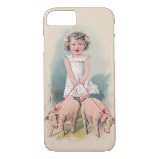 Leuke Vintage iPhone 7 hoesje - Jonge Gril die Pi