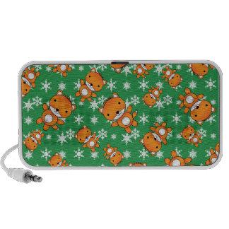 Leuke vos groene sneeuwvlokken iPhone luidspreker