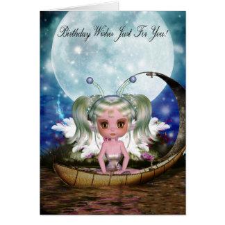 leuke waterfee in haar weinig boot met maan briefkaarten 0
