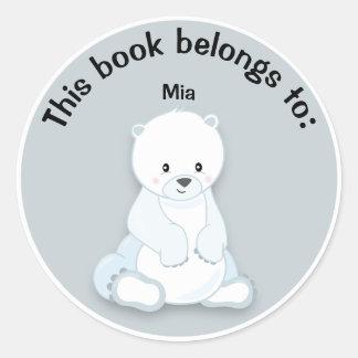 Leuke Witte Ijsbeer op het Grijze Bord van de Naam Ronde Sticker