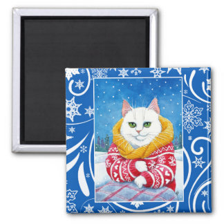Leuke witte kat, de winternatuur van Kerstmis Magneet