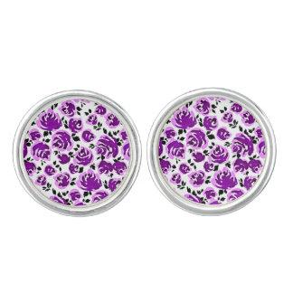 Leuke witte violette rozenpatronen manchetknopen