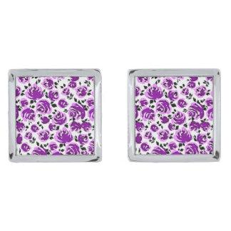 Leuke witte violette rozenpatronen verzilverde manchetknopen