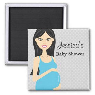 Leuke Zwangere Vrouw in het Blauwe Baby shower van Magneet
